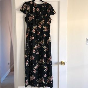 Zara floral button maxi dress